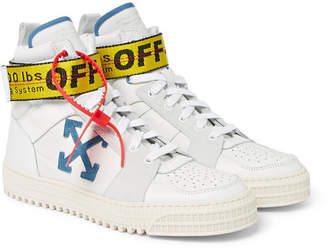 Off-White Off White Industrial Leather, Suede and Ripstop High-Top Sneakers - White