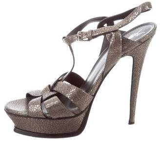 Saint Laurent Tribute Two Metallic Sandals