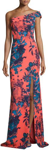 Black HaloBlack Halo One-Shoulder Floral Ikat Ponte Gown