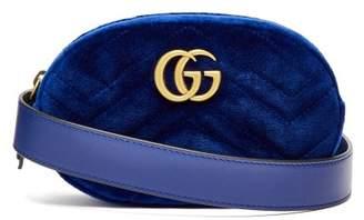 Gucci Gg Marmont Velvet Belt Bag - Womens - Blue