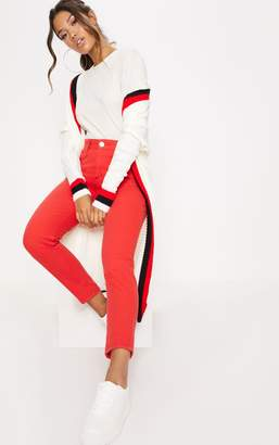 PrettyLittleThing Red High Waisted Mom Jeans