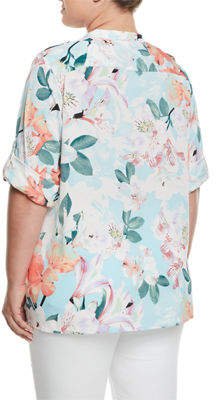 Iconic American Designer Floral-Print Roll-Sleeve Blouse, Plus Size