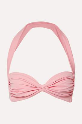 Norma Kamali Bill Ruched Halterneck Bikini Top - Baby pink