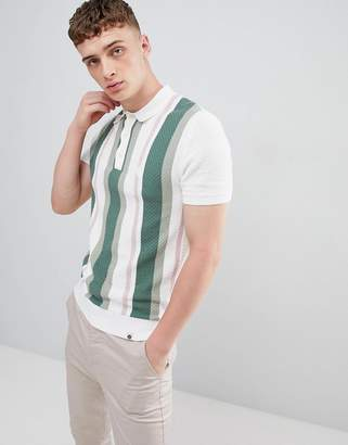 Pretty Green knitted stripe polo shirt in white