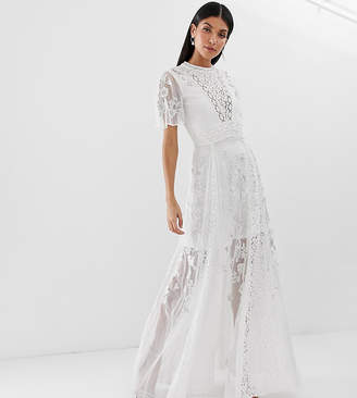 Amelia Rose Tall embroidered lace front maxi dress with panel inserts in white