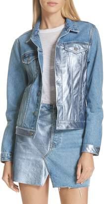 GRLFRND Bianca Metallic Leather Panel Denim Jacket