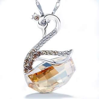 BC Elegant Swan Pendant Necklace with Oval Swarovski Crystals