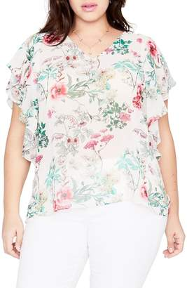 Rachel Roy Flutter Sleeve Floral Top