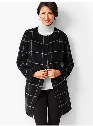 Talbots Window-Pane Plaid Double-Face Topper