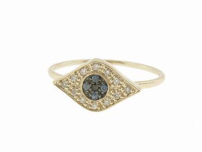 Sydney Evan Diamond Evil Eye Ring in Yellow Gold