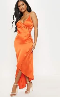 5f1719c976d PrettyLittleThing Shape Orange Satin Wrap Detail Midaxi Dress
