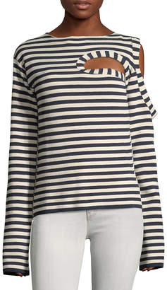Celine Striped Cut-Out Sweater