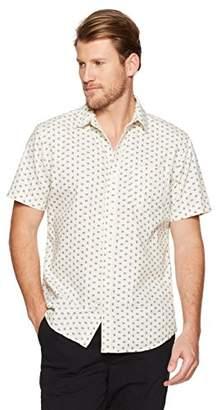Wood Paper Company Men's Short Sleeve Regular Fit Single Pocket Printed Cotton Button-Down Shirt