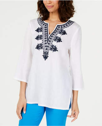Charter Club Petite Embroidered Linen Tunic