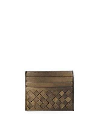 Bottega Veneta Intrecciato Metallic Leather Card Case