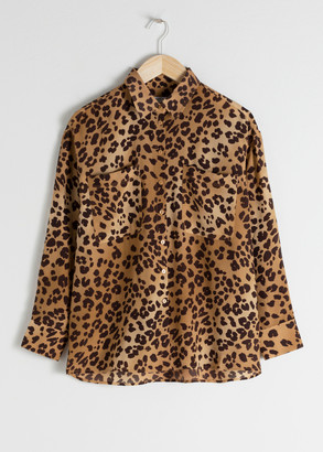 And other stories Oversized Leopard Silk Shirt