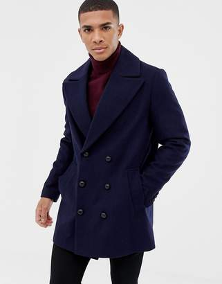 Asos DESIGN wool mix double breasted jacket in navy