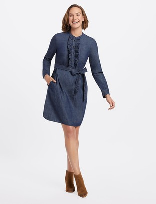 Draper James Chambray Ruffle Placket Shift Dress