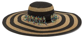 Etro Striped Bead Embellished Straw Hat - Womens - Gold