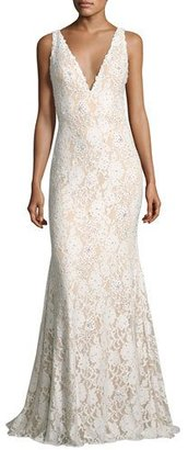 Jovani Sleeveless Embellished Lace Mermaid Gown, Off White $650 thestylecure.com