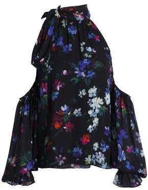 Milly Cold-Shoulder Floral-Print Silk Top