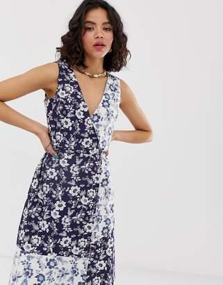 Warehouse willow print cotton midi dress