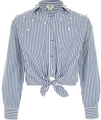 River Island Girls Blue stripe pearl tie front shirt