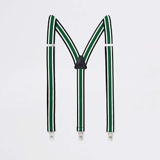 River Island Green stripe belt suspenders