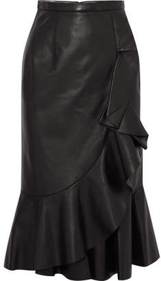 Michael Kors Rumba Wrap-effect Ruffled Leather Skirt - Black