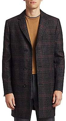 Saks Fifth Avenue Men's COLLECTION Wool Plaid Top Coat