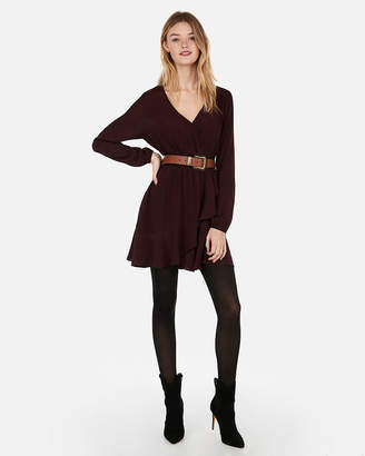 Express Ruffled Wrap Long Sleeve Dress