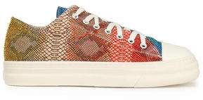 Just Cavalli Snake-Effect Leather Sneakers