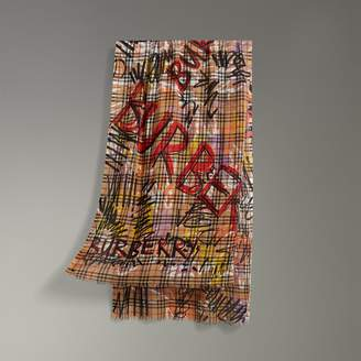 Burberry Graffiti Vintage Check Wool Silk Scarf, Red