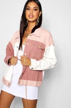 boohoo Pink Cololur Block Denim Jacket