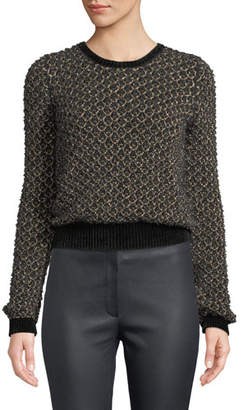 Escada Honeycomb Metallic-Thread Pullover Sweater w/ Chenille Trim