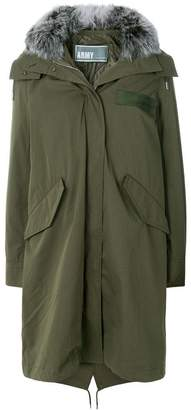 Yves Salomon Army hooded long quilted parka
