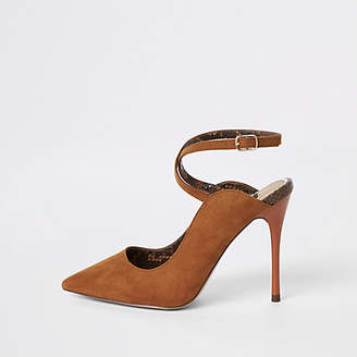 River Island Brown ankle strap Wide fit pumps