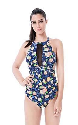 Seanami Dazzling Vintage Women One Piece High Neck V-Neckline Mesh Ruched Swimsuit
