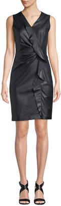 Elie Tahari Marsala Ruffled Leather & Ponte Dress