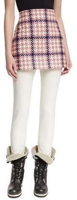 Moncler Gonna Houndstooth A-Line Mini Skirt
