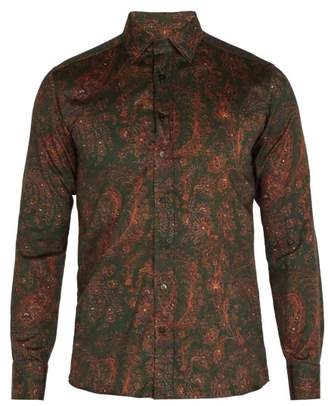 Etro Floral Print Cotton Shirt - Mens - Green