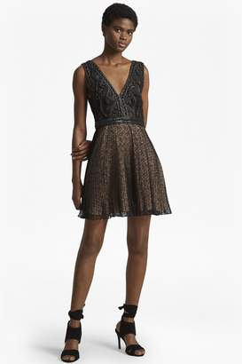 French Connection Florence Lace And Faux Leather Dress