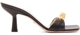 Gucci Dora Crystal Tiger Embellished Leather Mules - Womens - Black