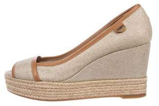 Tory Burch Leather-Trimmed Peep-Toe Wedges