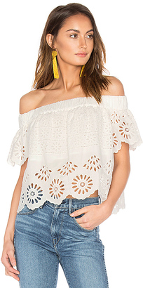 Sea Eyelet Off The Shoulder Top in White $325 thestylecure.com