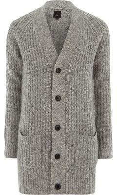 River Island Grey long sleeve longline knit cardigan