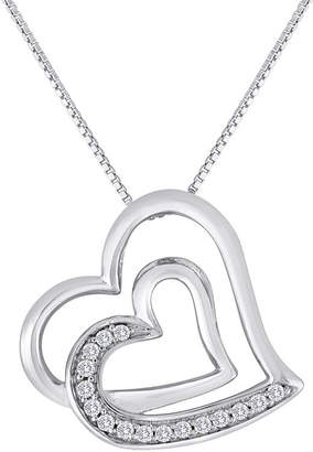 FINE JEWELRY ForeverMine 1/10 CT. T.W. Diamond Sterling Silver Double-Heart Pendant Necklace