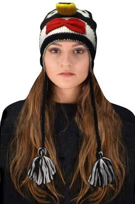 Couture Peach Penguin Themed Double Layer Fleece Tasseled Cozy Winter Kids Hat