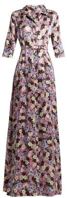 Erdem Karissa Martha Print Silk Satin Gown - Womens - Pink Multi