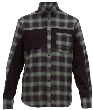Lanvin Plaid Panelled Cotton Twill Shirt - Mens - Grey